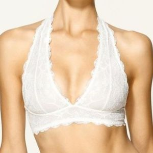 FREE PEOPLE Galloon Lace Halter Bra Ivory NWT L
